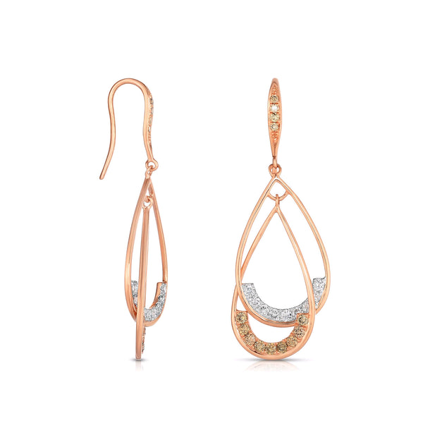 Fancy Diamond Pear Shape Dangle Earrings, 14K Rose Gold