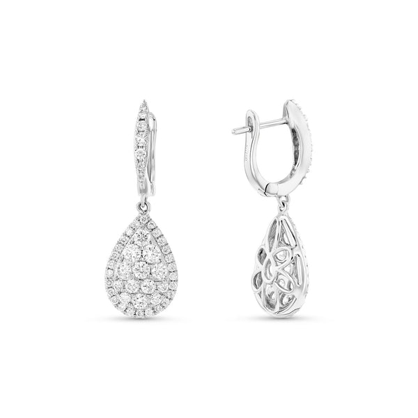 Pear Shape Diamond Drop Earrings, 18K White Gold