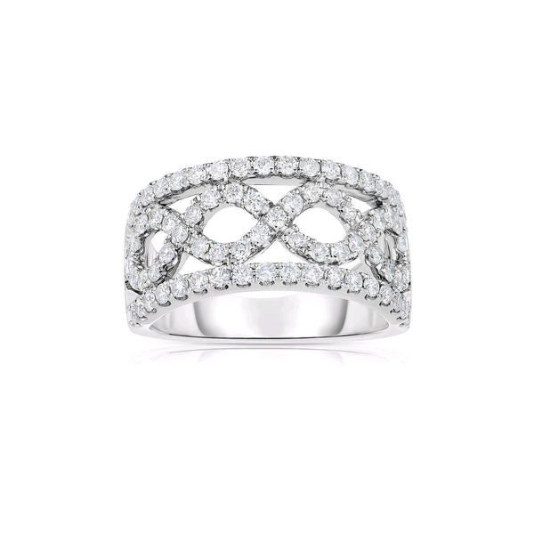 Open Design Criss Crossing Diamond Band, 14K White Gold