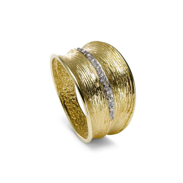 Textured Gold and Diamond Ring, 14K Yellow Gold