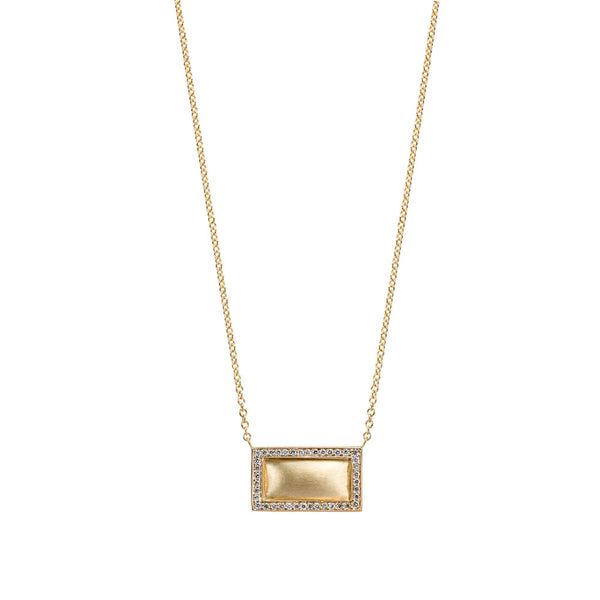 Diamond Framed Satin Finish Necklace, 18K Yellow Gold