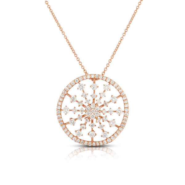 Fancy Diamond Disc Pendant, 14K Rose Gold