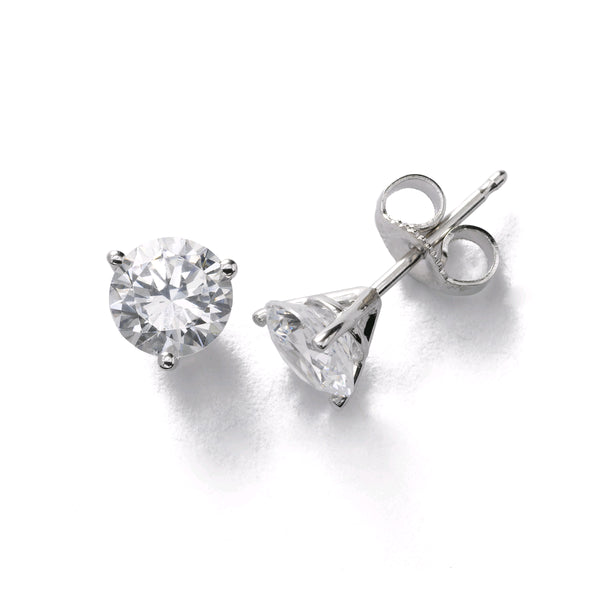 Classic Diamond Stud Earrings, 1.50 Carats Total, G/H-SI2, 14K White Gold