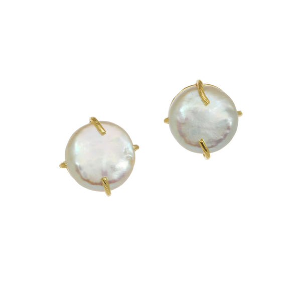 Freshwater Cultured Coin Pearl Earrings, 14MM, 14K Yellow Gold