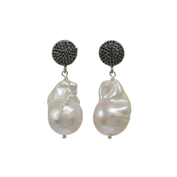 White Baroque Cultured Pearl and Black Spinel Dangle Earrings, Sterling Silver