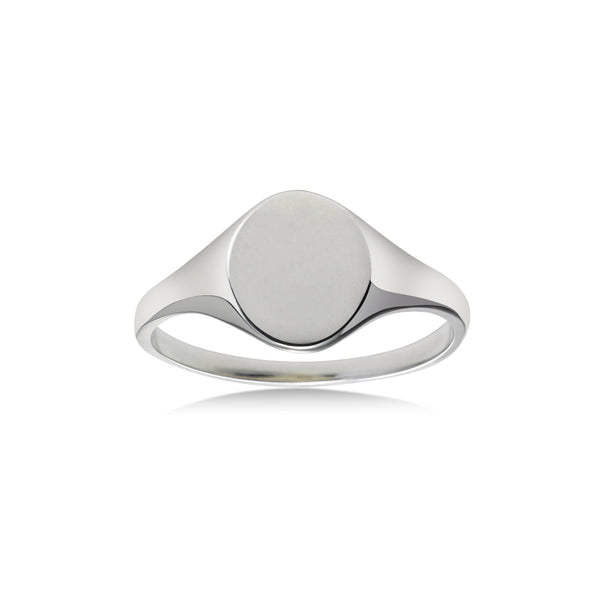 Small Oval Signet Ring, Sterling Silver