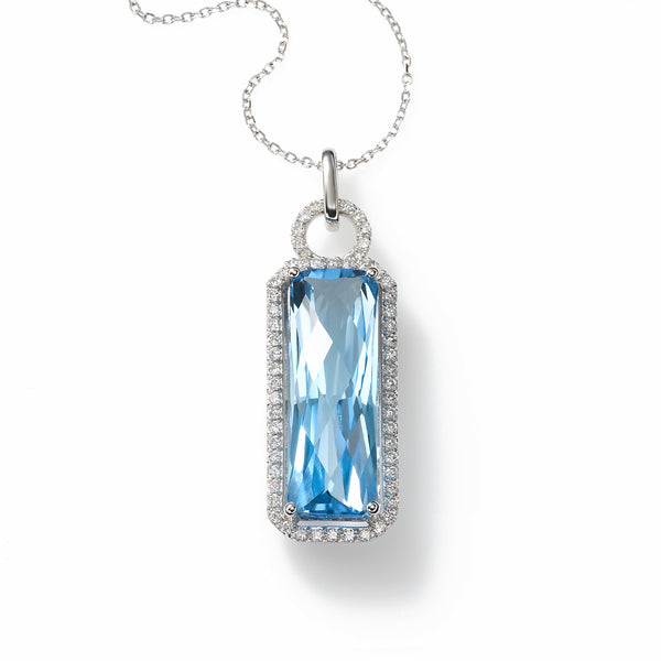 Sky Blue Topaz and Diamond Pendant, 14K White Gold