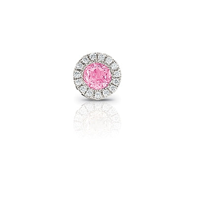 Pink Tourmaline and Diamond Rondelle Charm, 14K White Gold