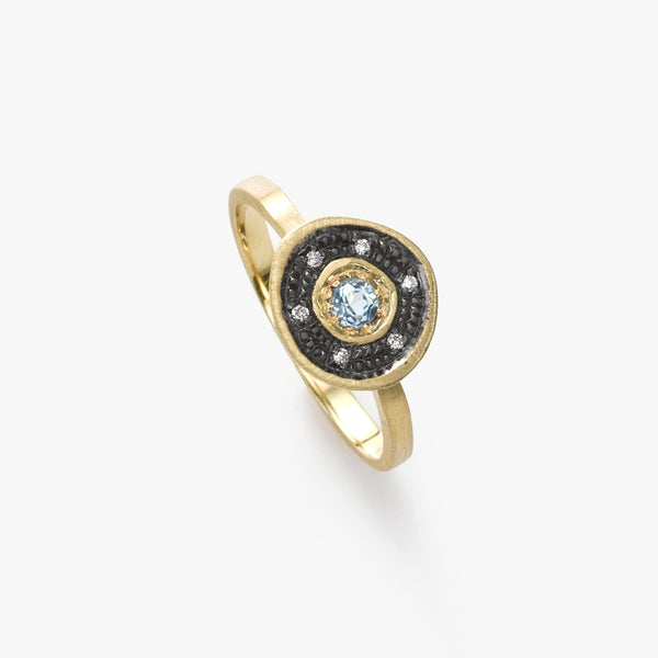 Blue Topaz Organic Circle Ring, 14K Yellow Gold