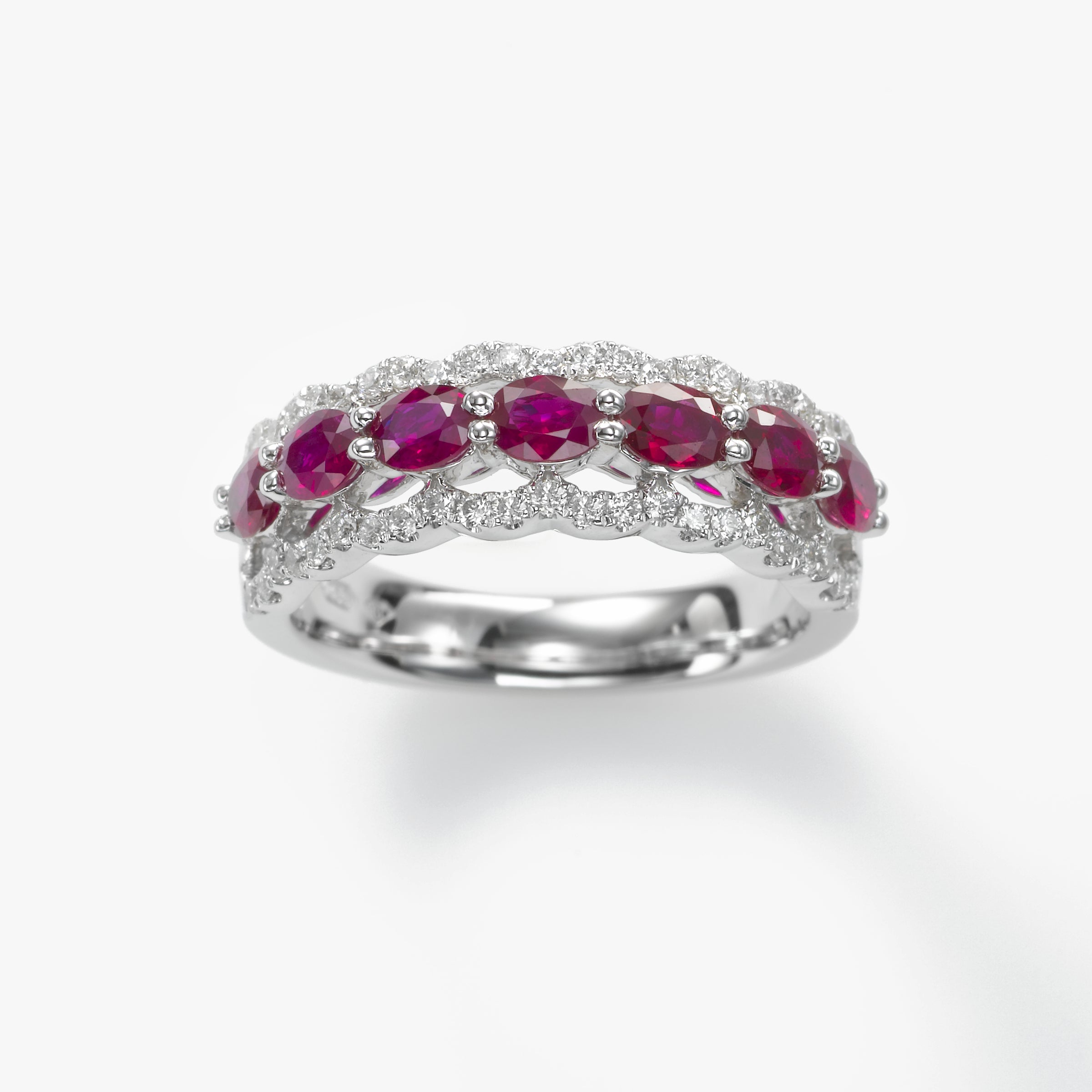Oval Rubies Band with Diamonds, 18K White Gold