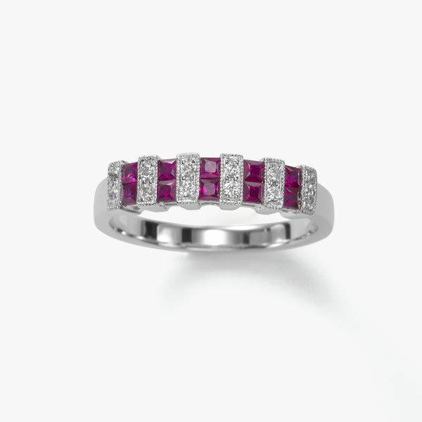 Square Rubies With Diamonds, 18K White Gold Ring