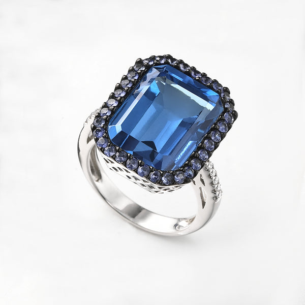 Large Blue Topaz, Diamond and Sapphire Ring, 14K White Gold