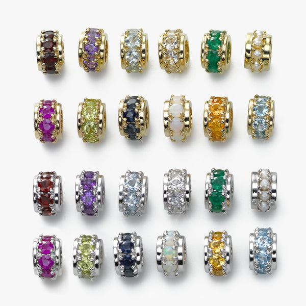 Birthstone Rondelle Bead Charms, 14K Yellow or White Gold, Your Choice, Starting at...