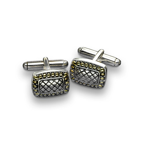 Rectangular Crosshatch Cufflinks, Sterling Silver and 18K Yellow Gold