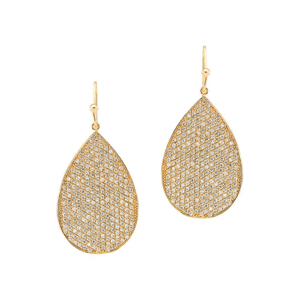CZ Pear Shaped Drop Earrings, Gold Tone, by Tai Design