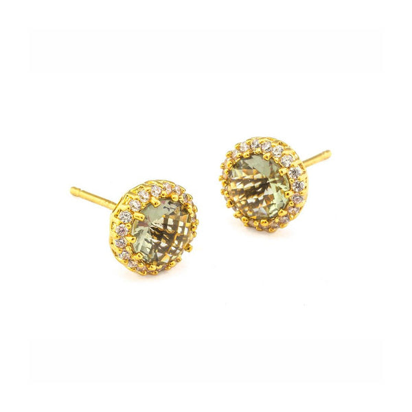 Pale Brown Glass and CZ Stud Earrings, Gold Tone, by Tai Design
