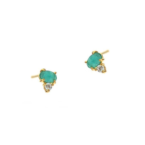 Green Colored Glass and Cubic Zirconia Stud Earrings, Gold Tone, by Tai Design