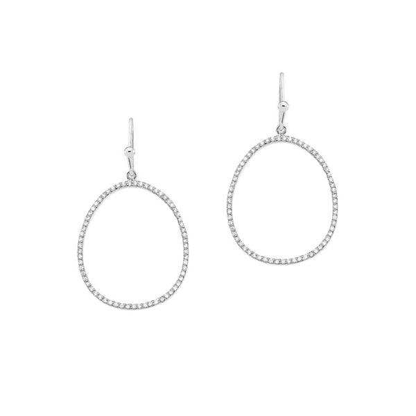 Large Open Oval CZ Drop Earrings, Silver Tone, by Tai Design
