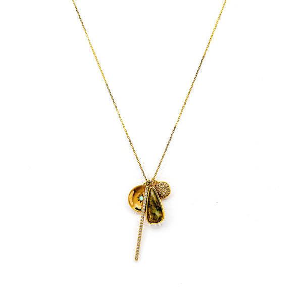 CZ and Colored Glass Multi Charm Necklace, Gold Tone, by Tai Design