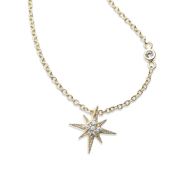 CZ Starburst Pendant, Gold Tone, by Tai Design