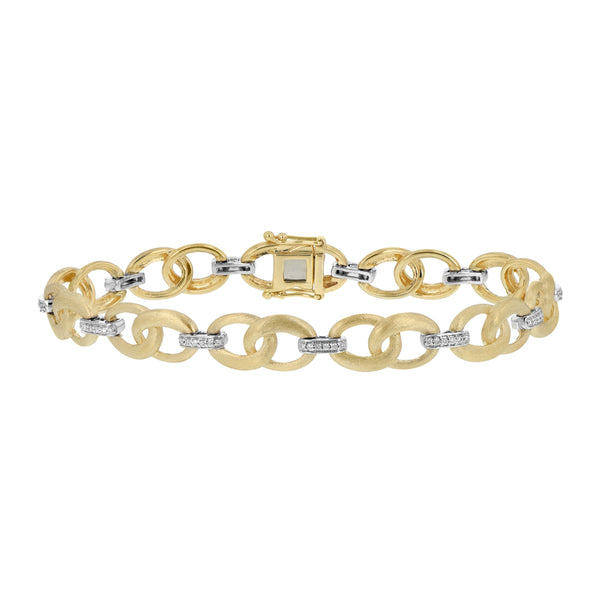 Florentine Finish and Diamond Open Link Bracelet, 14 Karat Gold