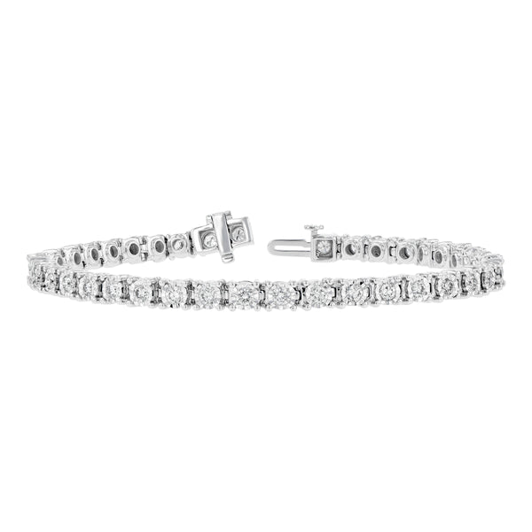 Four Prong Diamond Tennis Bracelet, 2 Carats, 14K White Gold
