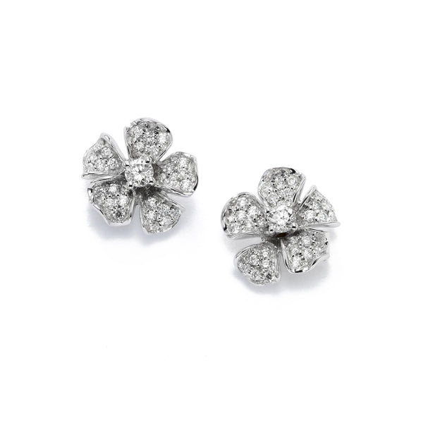Small Magnolia Collection Diamond Flower Earrings, 14K White Gold
