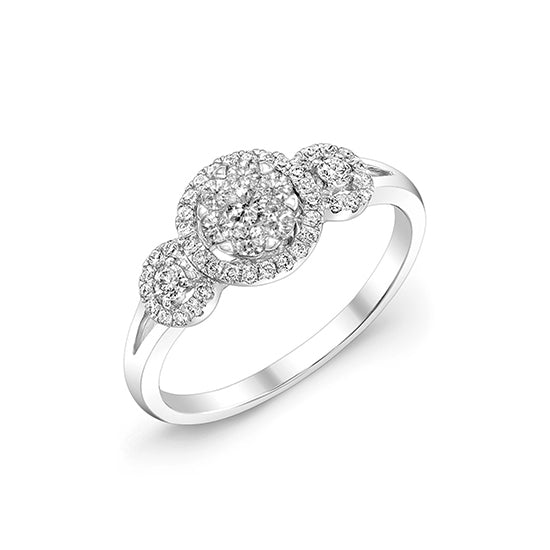 Three Diamond Cluster Ring with Halo, 14K White Gold