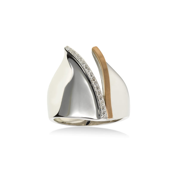 High Polish Modern Diamond Ring, 14 Karat Gold