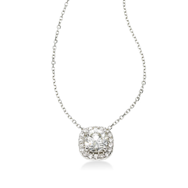 Round Diamond Halo Pendant, 14k White Gold