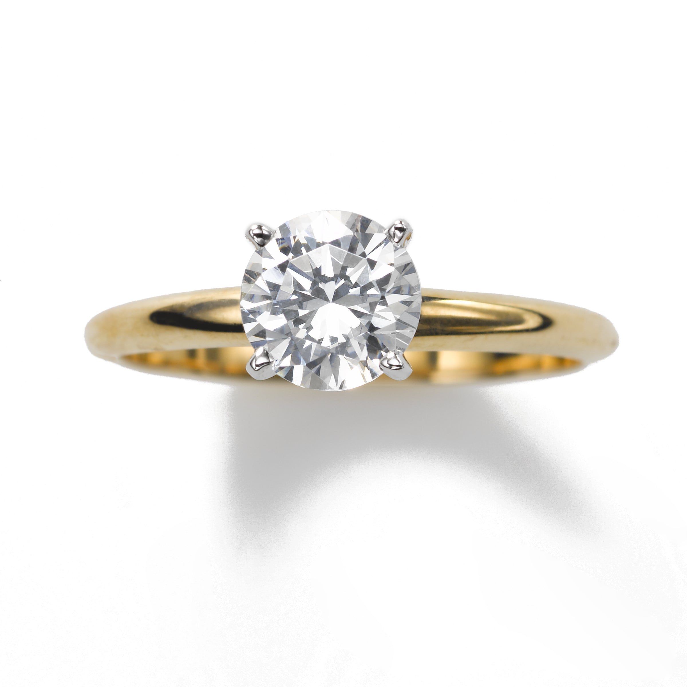 Classic Diamond Engagement Ring, 1 1/4 Carat , 18K Yellow Gold