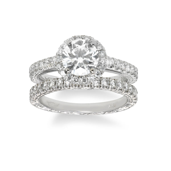 Bridal Set with Hand Engraving, 18K White Gold