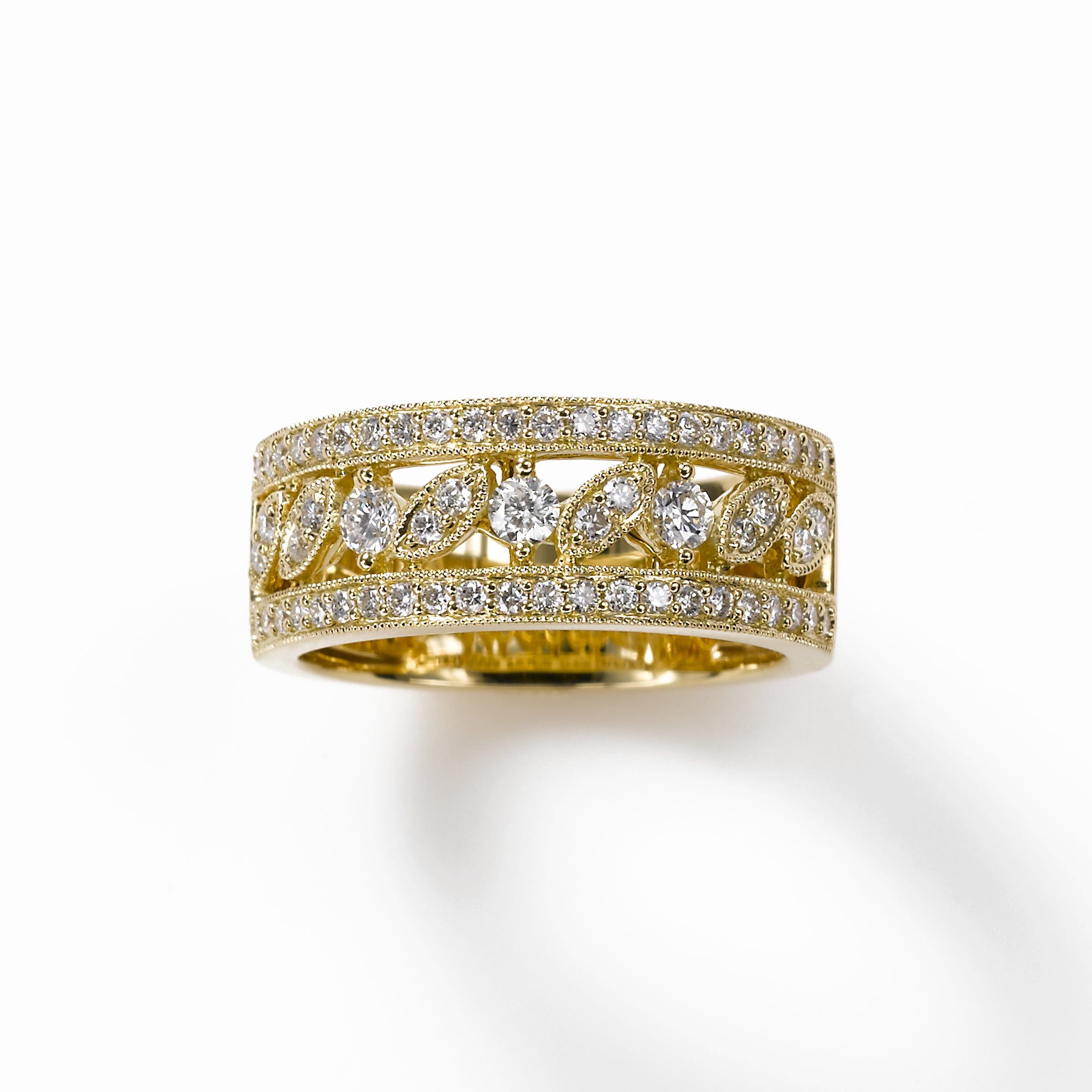 Wide Vintage Look Diamond Band, .70 Carat, 18K Yellow Gold