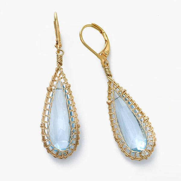 Blue Topaz and Gold Filled Earring, by Misha of NY