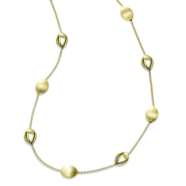 Alternating Polished and Satin Pebble Necklace, 14K Yellow Gold