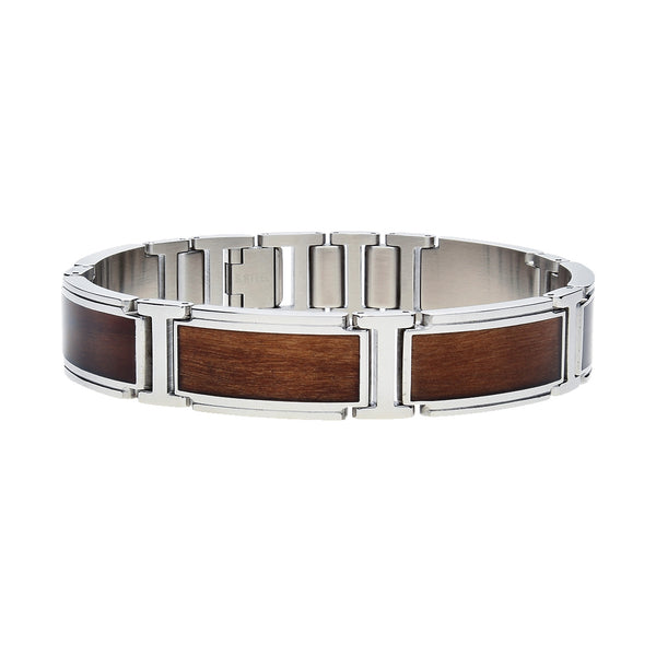 Willow Wood Inlay Link Men's Bracelet, 8.50 Inches, Stainless Steel