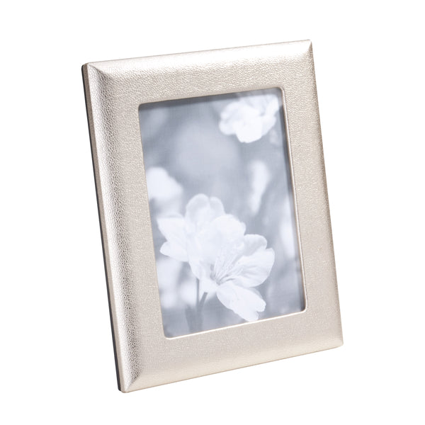 Metallic Goatskin Leather Picture Frame, 5x7 Inches