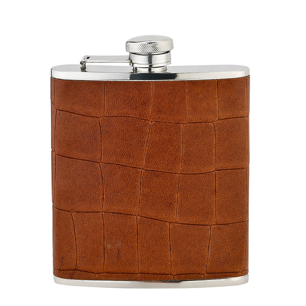 Stainless Steel 6 Oz Flask, Brown Leather