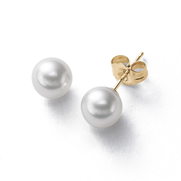 Akoya Saltwater Cultured Pearl Stud Earrings, 7.5 MM, 14K Yellow Gold