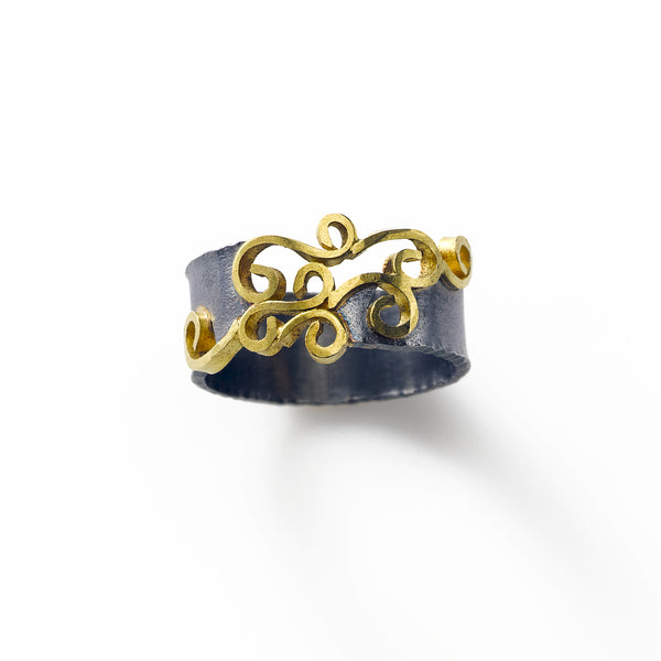 18K Gold and Blackened Silver Wide Ring