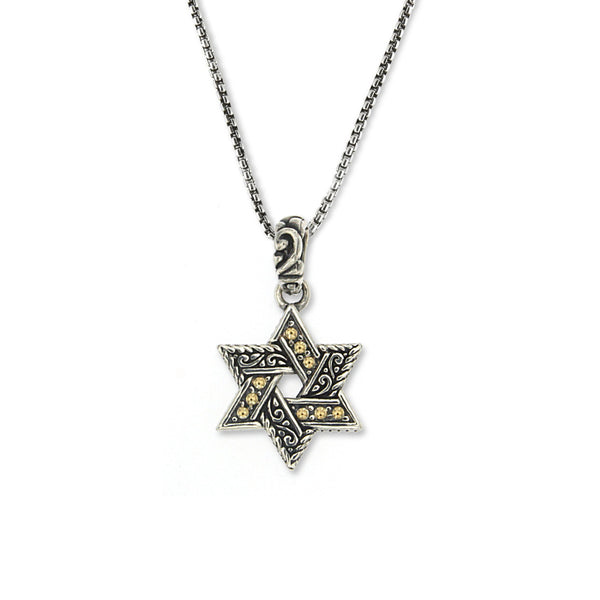 Star of David Pendant, Sterling Silver and 18K Gold