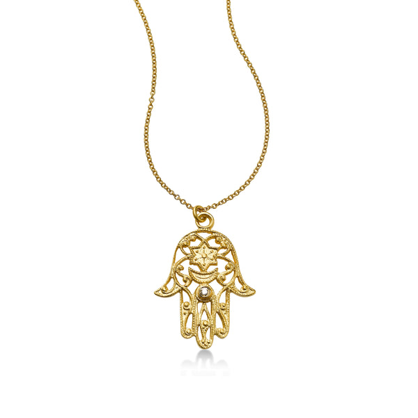 Scrollwork Hamsa Pendant with Diamond, 14K Yellow Gold