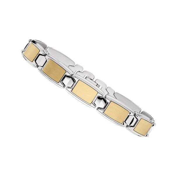 Gold Tone Link Men's Bracelet, 8.75 Inches, Stainless Steel