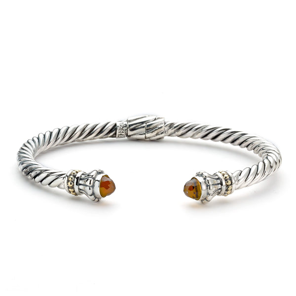Rope Design Cuff with Citrine Ends, Sterling Silver