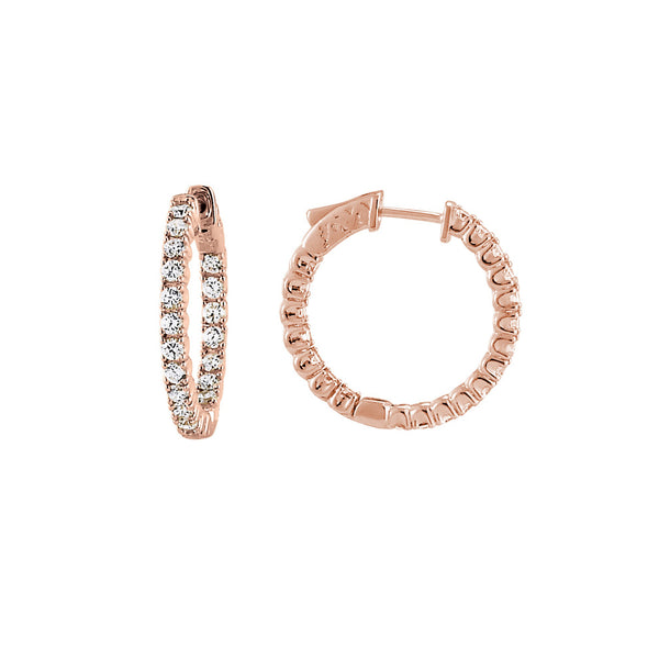 Inside Out CZ Hoops, 1 Inch, Sterling Silver with Rose Gold Plating