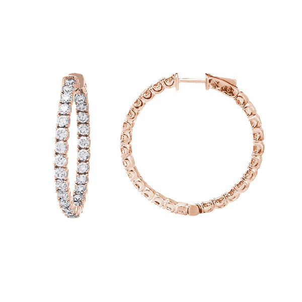 Inside Out CZ Hoops, 1.40 Inches, Sterling Silver with Rose Gold Plating