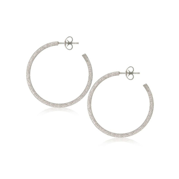 Hoop Earrings, 1.25 Inches, Sterling Silver with Sparkle Finish