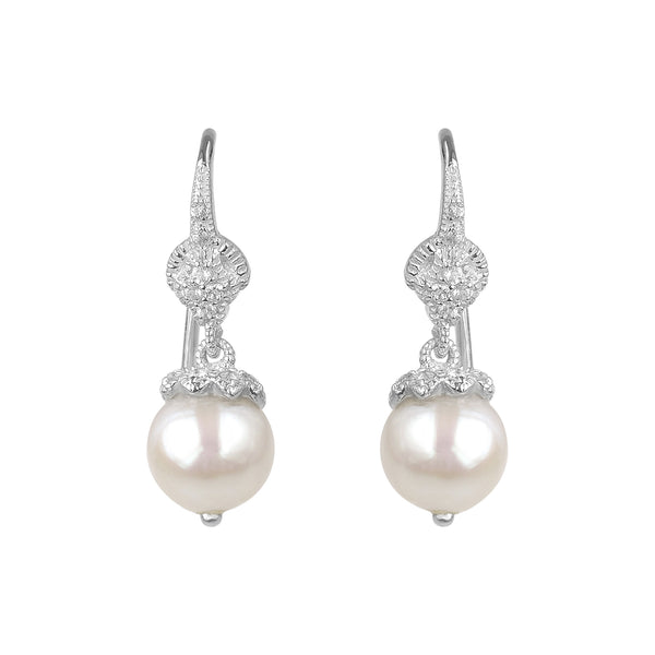 Freshwater Cultured Pearl and White Topaz Drop Earrings, Sterling Silver