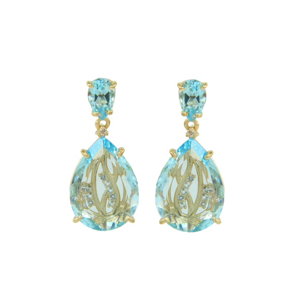 Blue Topaz and White Topaz Drop Earrings, Sterling Silver and Vermeil