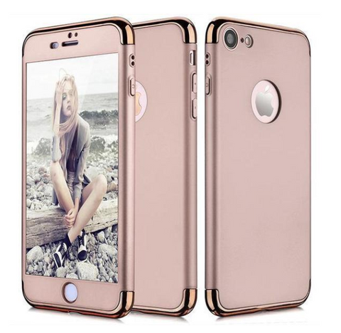 Hybrid 360° Hard Thin Case + Tempered Glass For iPhone